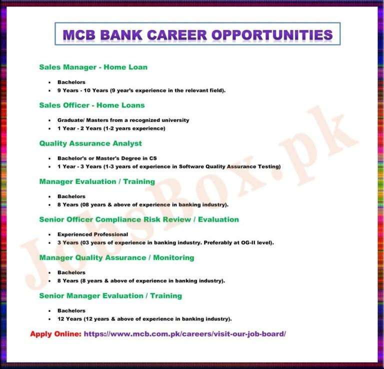 MCB Bank Jobs 2021 Recruitment – Apply Online www.mcb.com.pk