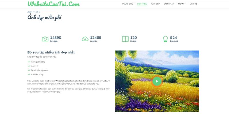 Mẫu website chia sẻ ảnh online miễn phí