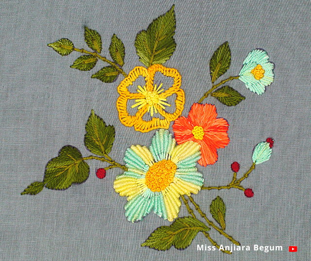 Beautiful eye catching easy hand embroidery design for beginners, how to embroider a cute design