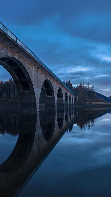 Bridge, River, Twilight Sky, Sunset Wallpaper