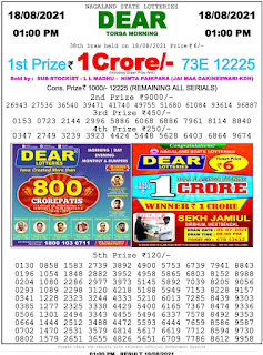 Nagaland State Lottery Result Today 18.08.2021,1PM