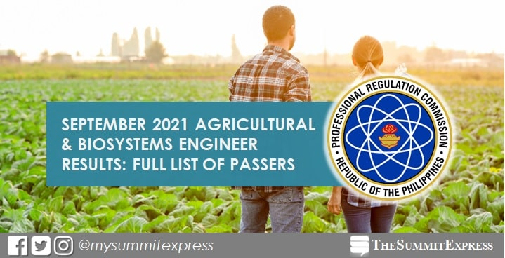 RESULTS: September 2021 Agricultural and Biosystems Engineer passers