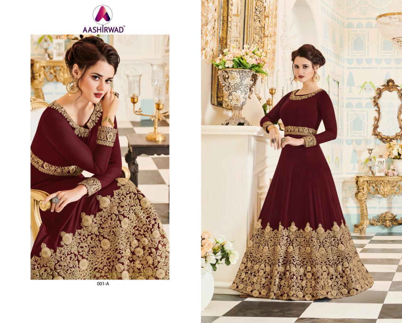 Aashirwad Creation Veeda Gold Designer Salwar Suits Catalog Lowest Price