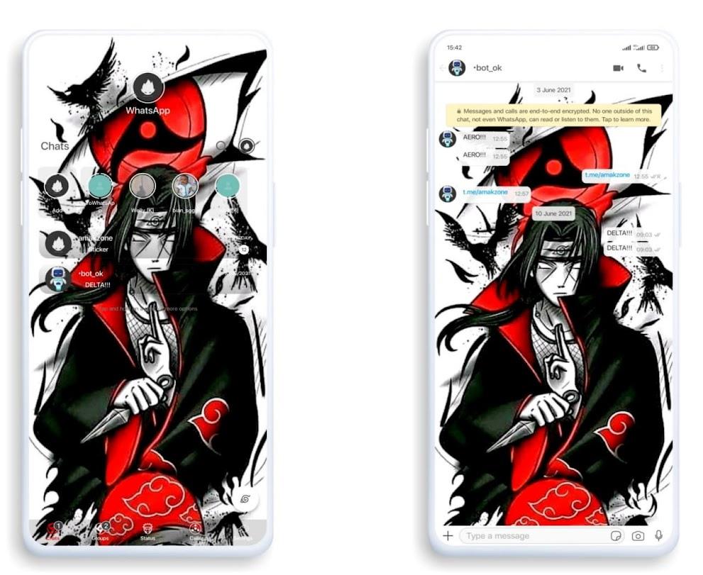 IOS Uchiha Itachi Theme For GBWhatsApp & Delta WhatsApp By Amakzone