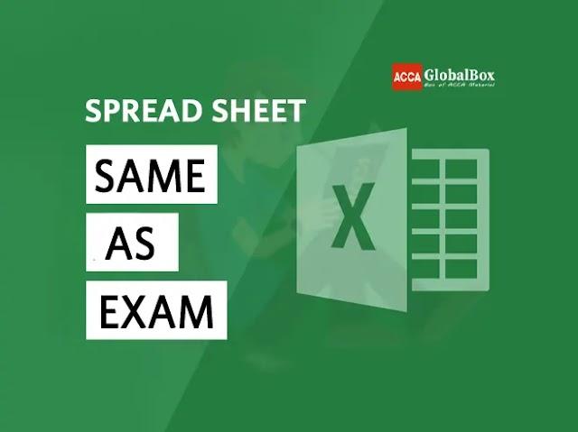 SPREAD SHEET, same as Exam