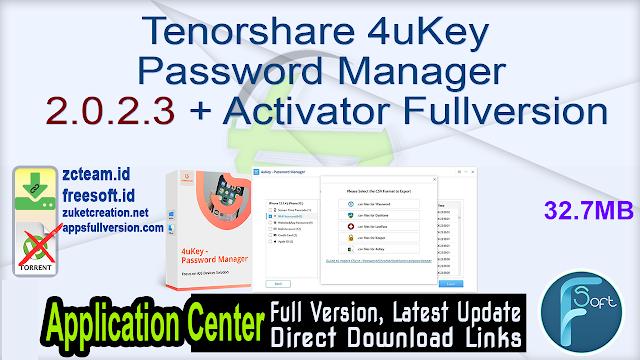 Tenorshare 4uKey Password Manager 2.0.2.3 + Activator Fullversion