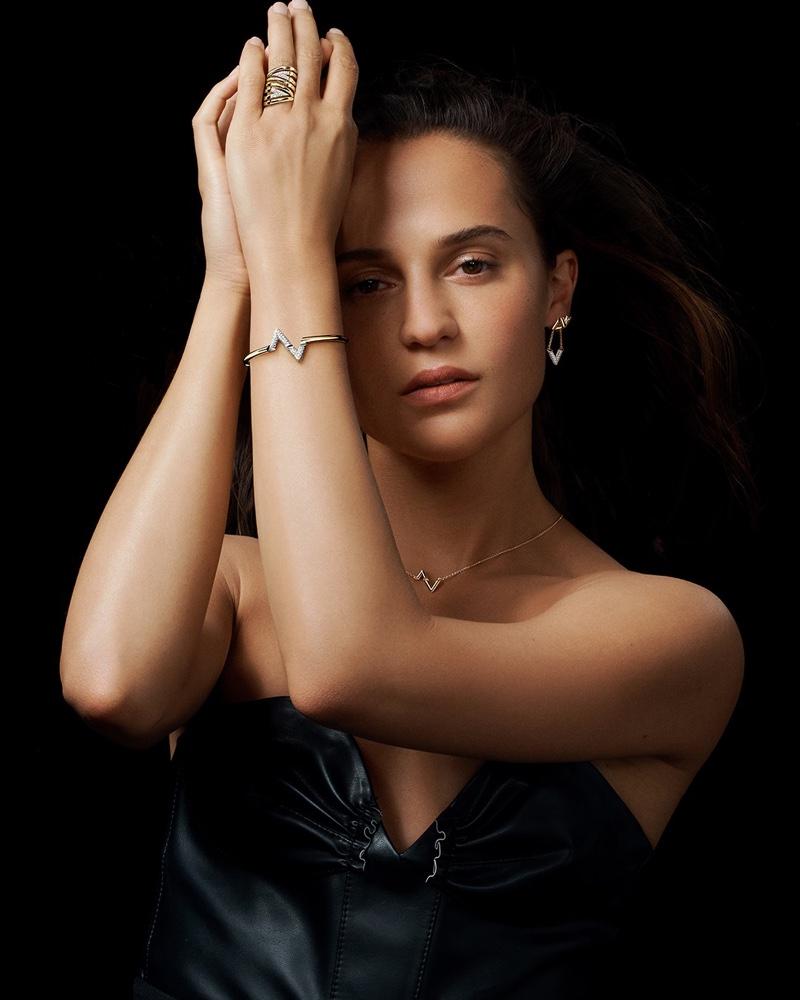 Alicia Vikander stars in Louis Vuitton LV Volt 2021 jewelry campaign.