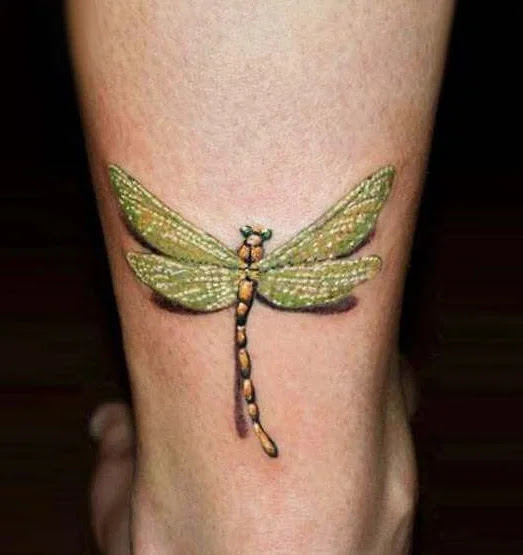 3d Realistic Dragonfly Tattoo