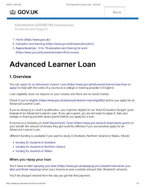 Advanced Learner Loan Overview