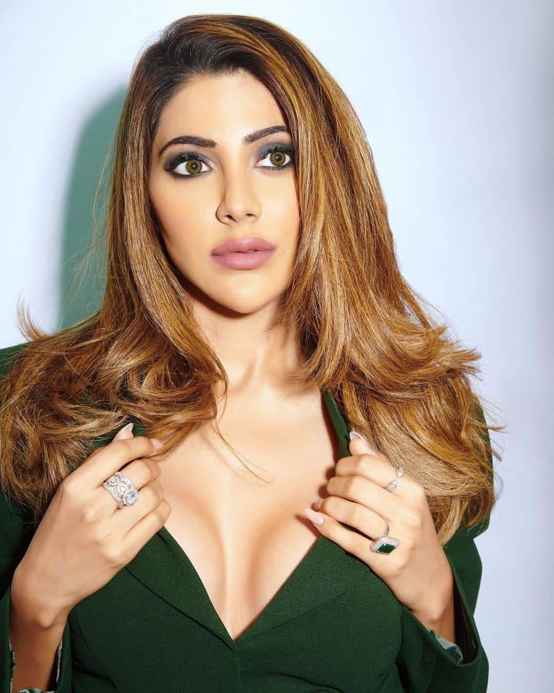 Nikki Tamboli Hot and Sexy Pictures In Green Dress - Insta Stars