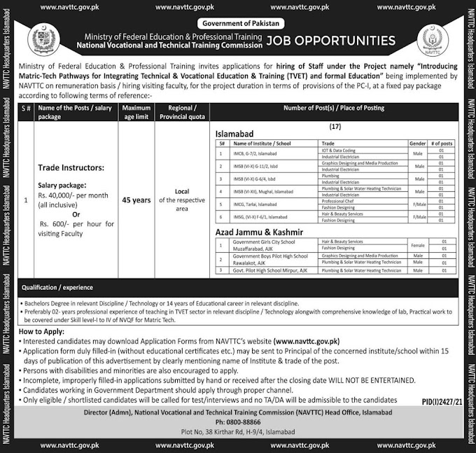 Ministry of Federal Education Islamabad Jobs 2021 – www.nvttc.gov.pk
