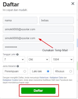 Cara Membuat Akun Facebook Tanpa No HP dan Gmail
