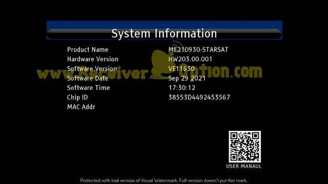 STARSAT GX6605S HW203.00.001 U43 MENU STYLE NEW SOFTWARE 29 SEPTEMBER 2021