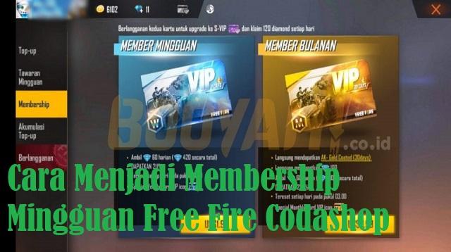 Cara Menjadi Membership Mingguan Free Fire Codashop