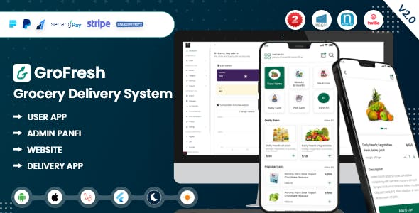 GroFresh - (Grocery, Pharmacy, eCommerce, Store) App and Web with Laravel Admin Panel + Delivery App
