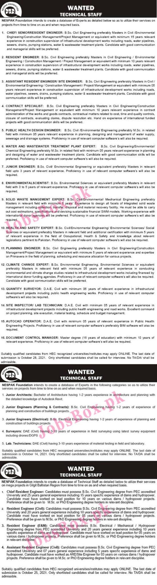 http://nespakfoundation.com.pk/Careers.html - NESPAK National Engineering Services Pakistan Jobs 2021 in Pakistan