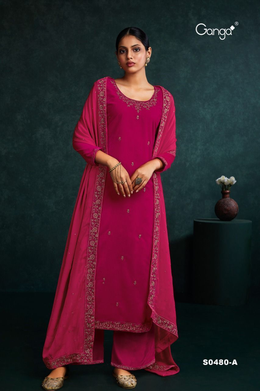Ganga Zeal 480 Plazzo Style Suits Catalog Lowest Price