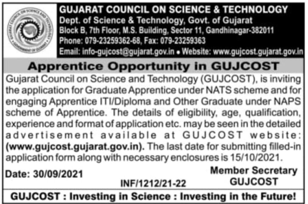 GUJCOST Apprentice Recruitment 2021