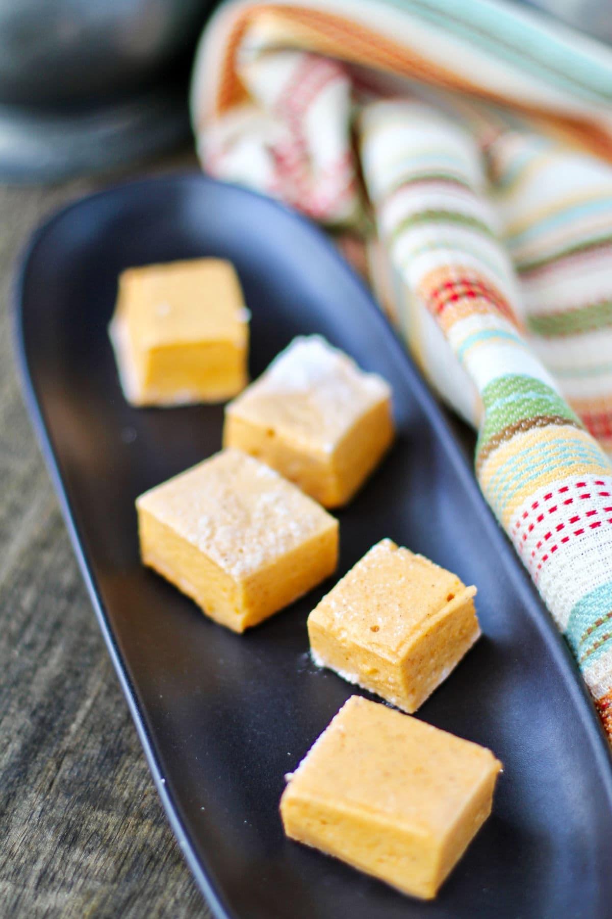 Pumpkin Spice Marshmallows on a platter.