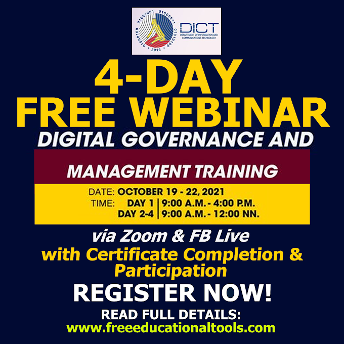 DICT 4 Day Free Webinar   FREE DIGITAL GOVERNANCE and MANAGEMENT with E-Certificate   October 19-22   REGISTER NOW