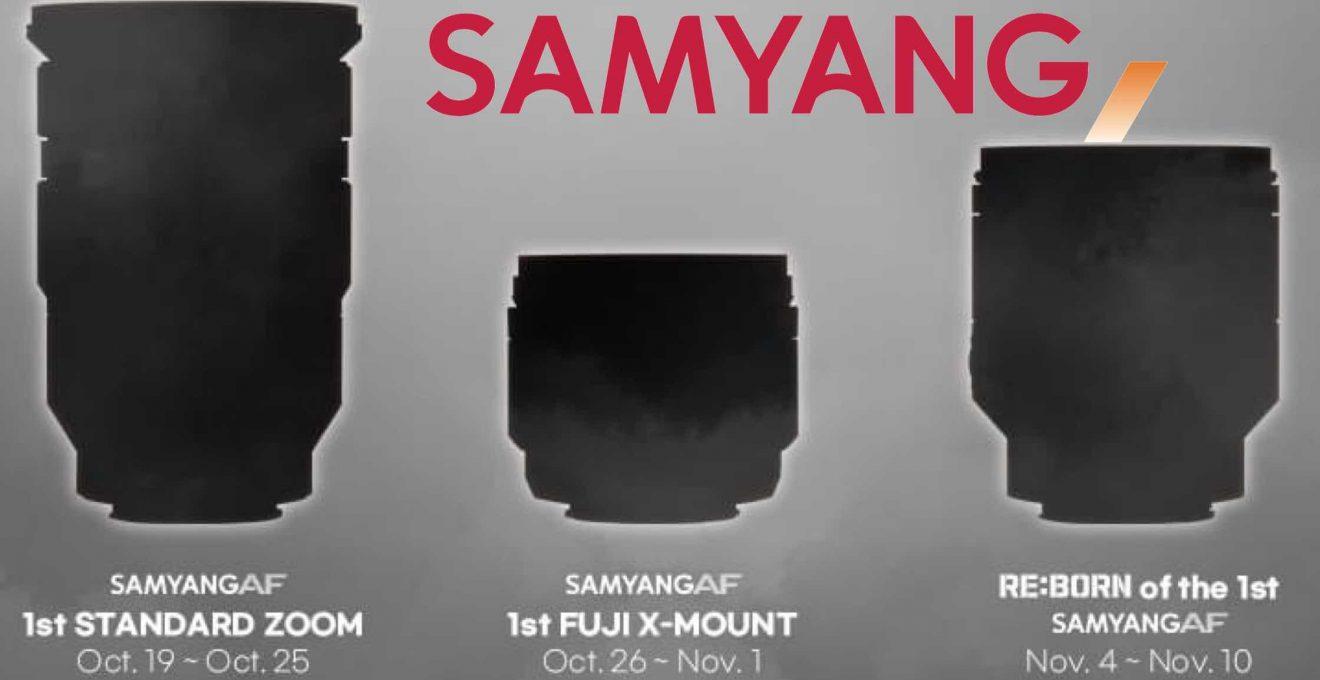 Баннер-тизер с новыми объективами Samyang