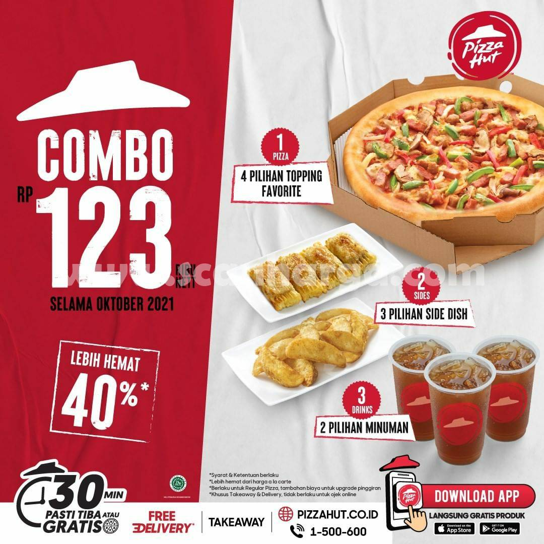 Promo PIZZA HUT COMBO 123 – Harga 3 Paket Cuma Rp. 123.000 nett* aja