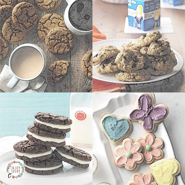 Big Soft Ginger Cookies, Chocolate Chip Oatmeal Cookies, Quick Chocolate Sandwich Cookies, White Velvet Cutouts