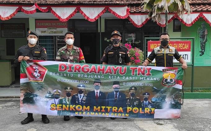 Perkuat Sinergitas, Senkom Mitra Polri Pedan Pasang Spanduk Ucapan HUT TNI ke-76 di Koramil 04/Pedan