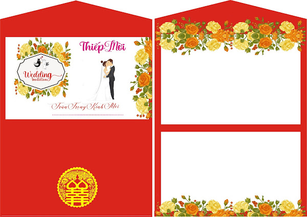 Vector Wedding in thiệp cưới File corel