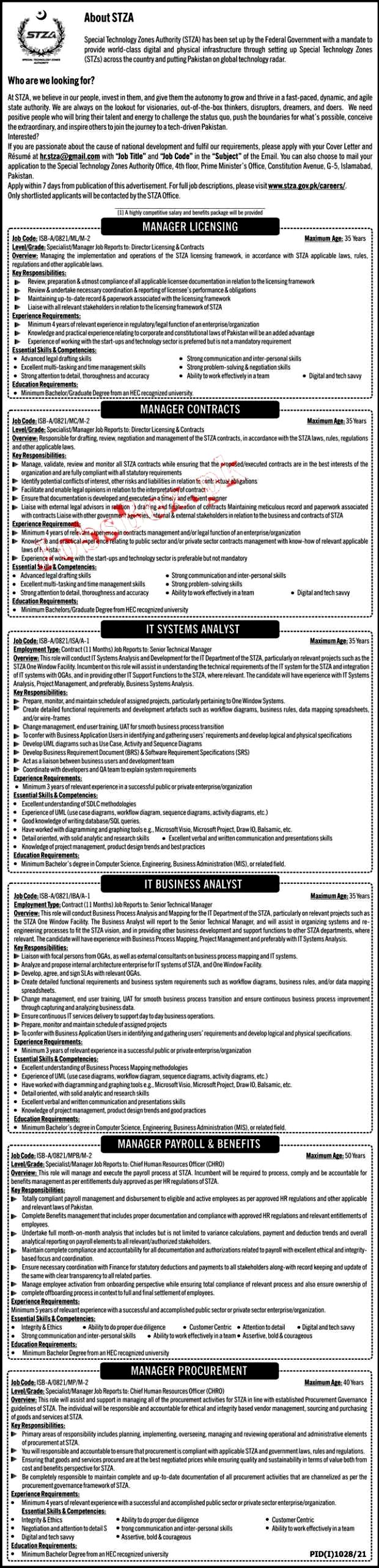 Latest Jobs in Special Technology Zones Authority STZA 2021