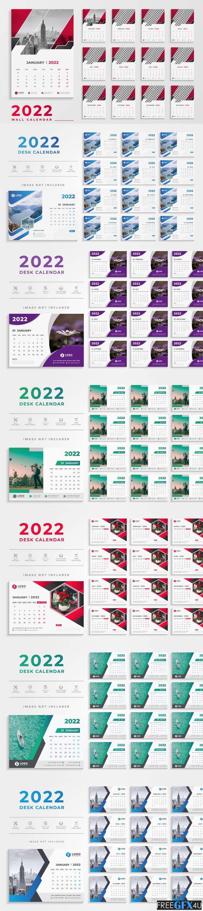Modern Desk Calendar 2022 Vector Templates
