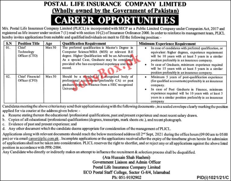 Postal Life Insurance Company Limited PLICL Jobs 2021 Latest,,applications via email at career@plic.com.pk.