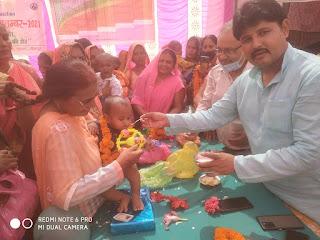 कुपोषण माह अभियान के तहत ब्लॉक परिसर में हुई गोद भराई  | #NayaSaberaNetwork