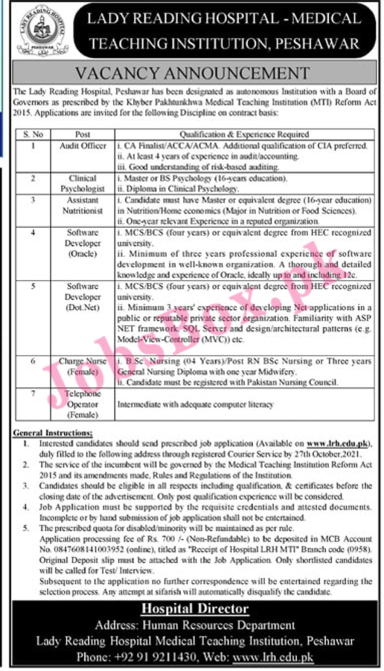 www.lrh.edu.pk - LRH Lady Reading Hospital Jobs 2021 in Pakistan