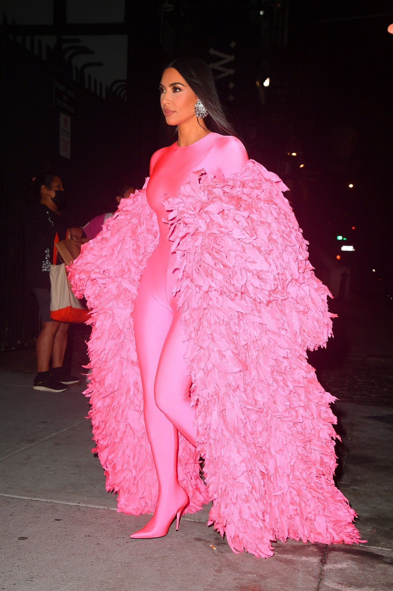 Kim Kardashian sizzles in pink Balenciaga catsuit as she heads to SNL Afterparty