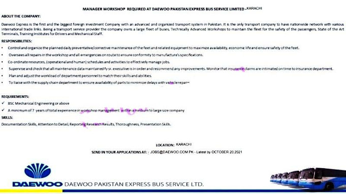 Daewoo Pakistan Express Bus Service Limited Latest Jobs 2021 for Manager Workshop