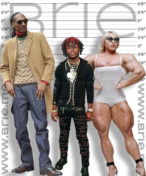 Lil Uzi Vert height comparison with Snoop Dogg and Nataliya Kuznetsova