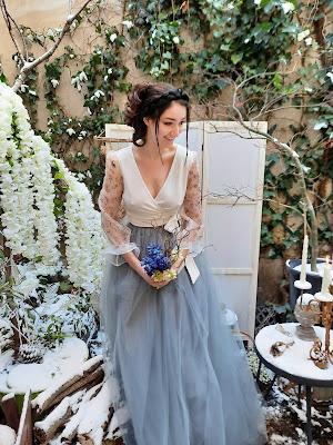 robe de mariée D'ors et de Soie tulle bleu