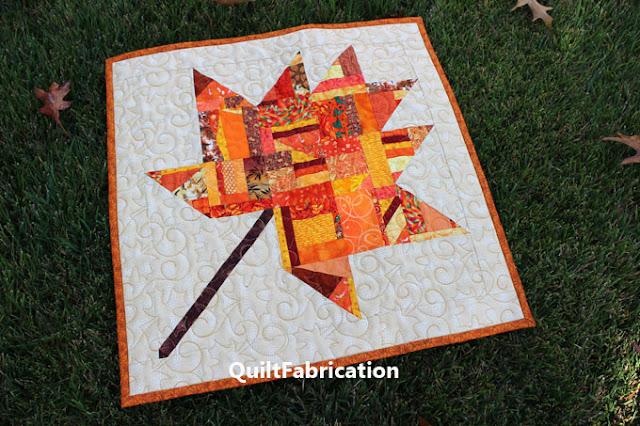 orange scrap fabrics make a maple leaf