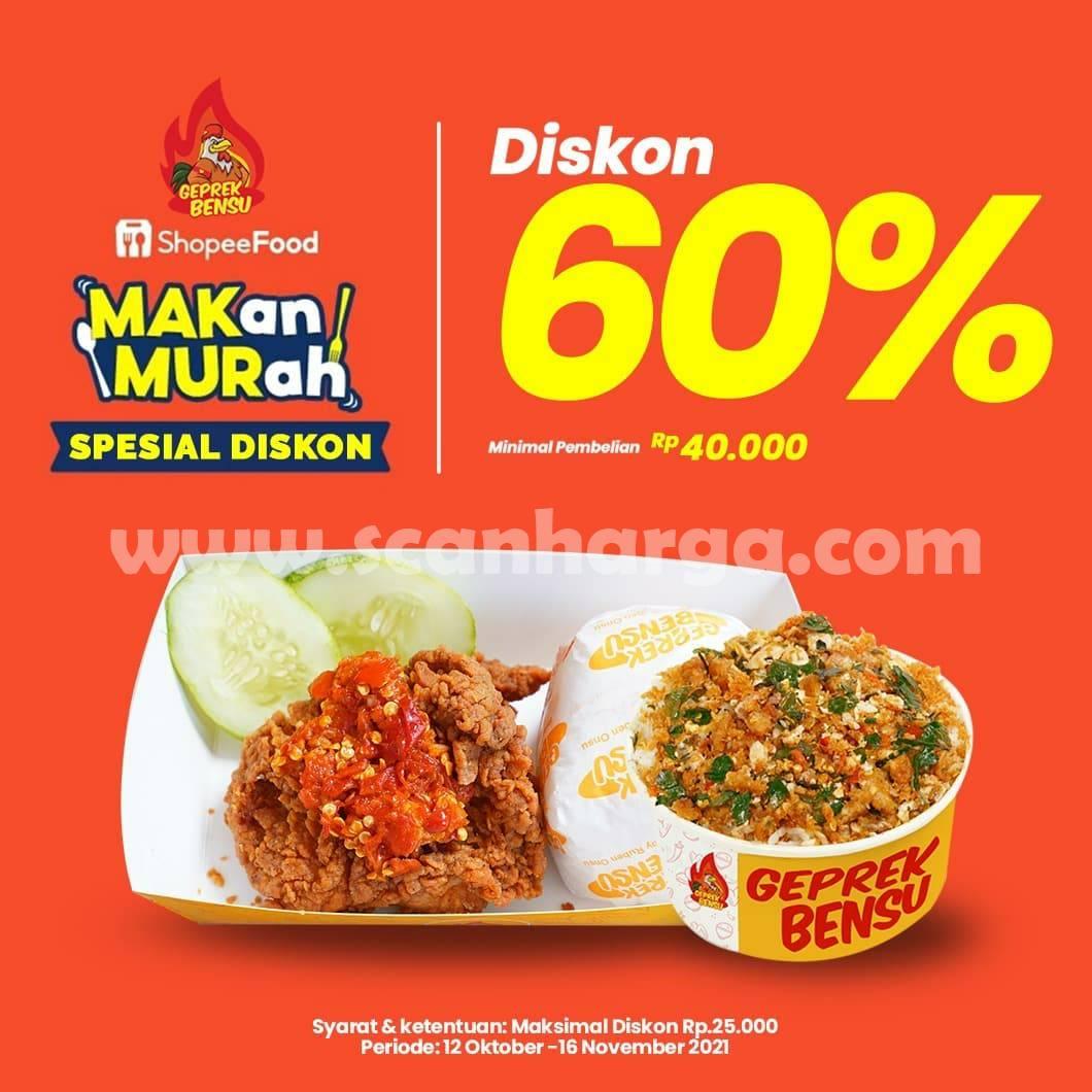 Promo GEPREK BENSU Shopeefood – DISKON hingga 60%