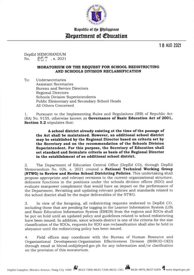 Moratorium on the Request for School Redistricting and Schools Division Reclassification