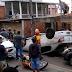 Urgente: carro capota várias vezes em rua da Compensa e quase atropela crianças que iam para escola