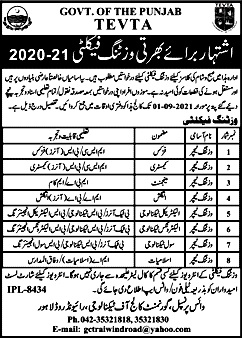 Latest Jobs in Government College of Technology Lahore TEVTA 2021