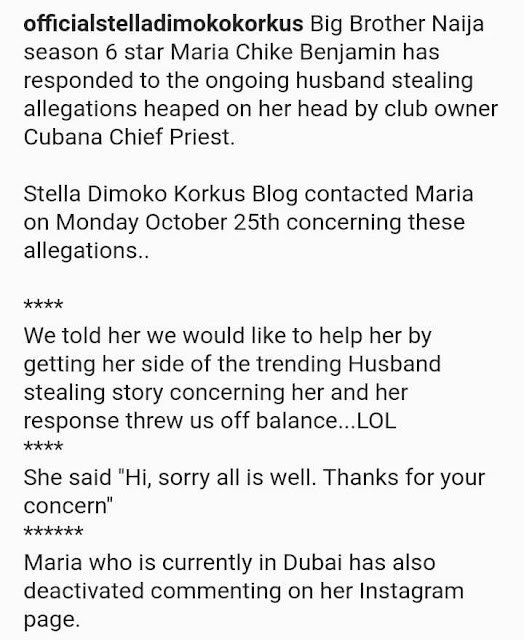 BBNaija star, Maria finally speaks out after being accused of Snatching another woman's husband