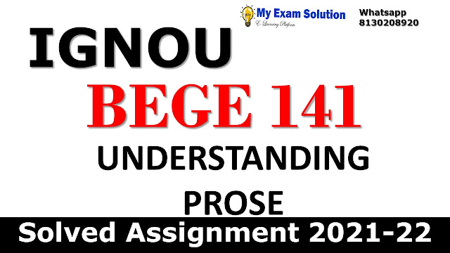 BEGE 141 Solved Assignment 2021-22