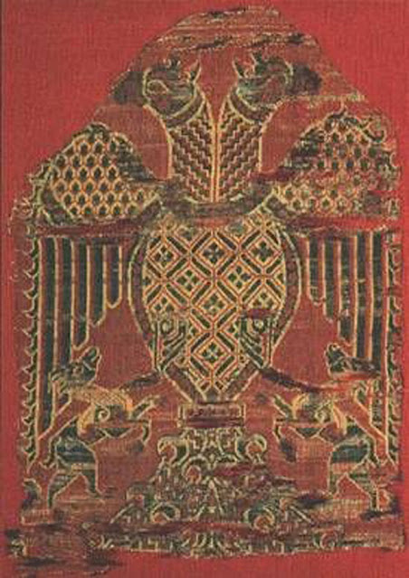 Byzantine double-headed eagle on tapestry, byzantium.filminspector.com