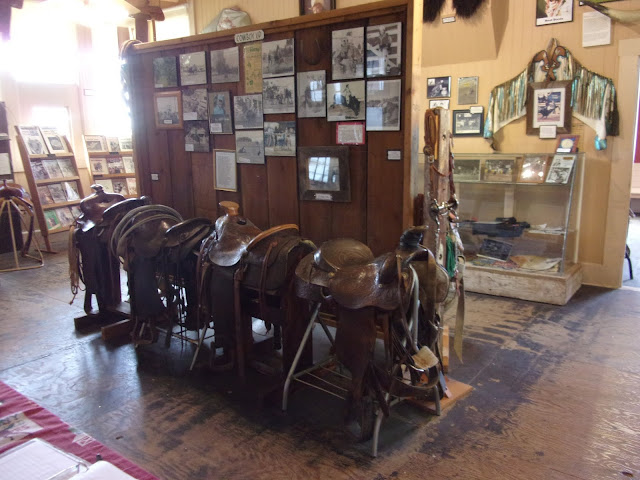 Saddles and other artifacts housed in the Oakdale Cowboy Museum