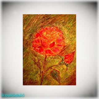 Πίνακας ζωγραφικής του εικαστικού Κώστα Ευαγγελάτου από τη σειρά έργων «Τα τριαντάφυλλα του Ρίλκε»