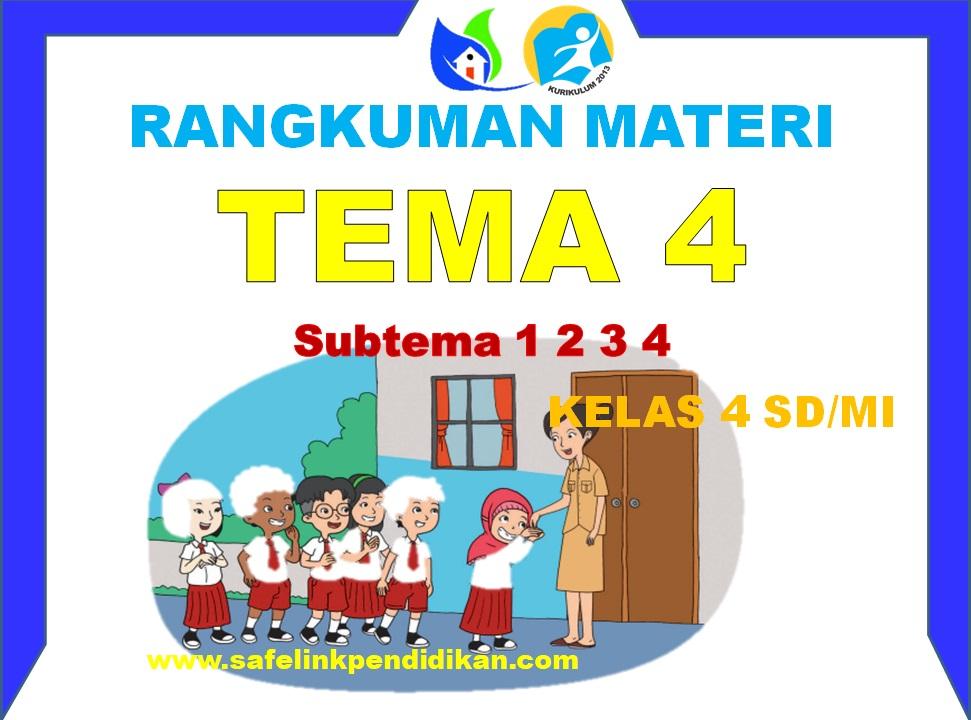 Rangkuman Materi Pembelajaran Tema 4 Kelas 4 SD/MI