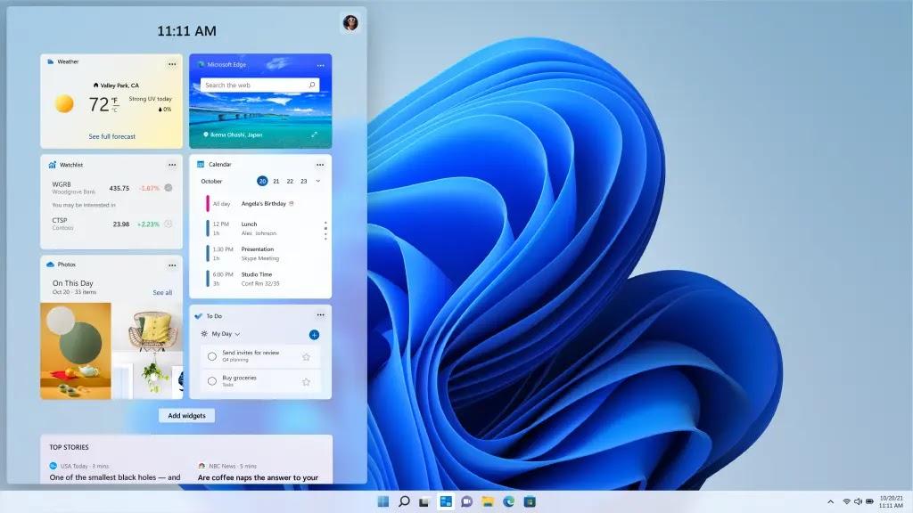 tampilan baru widget windows 11
